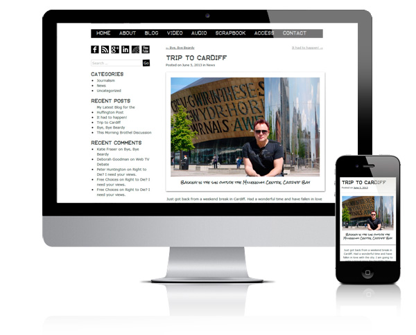 Responsive views of the Mik Scarlet blog page