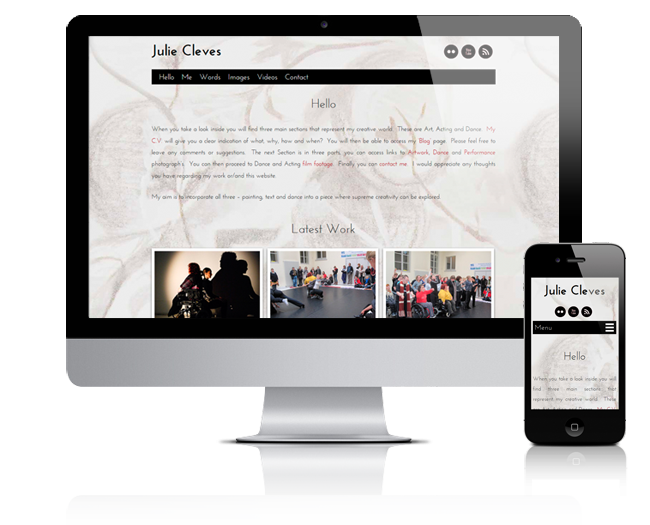 responsive view of the Julie Cleves site home page