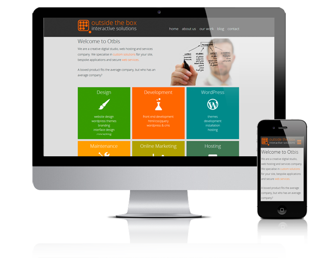 responsive view of the otbis home page